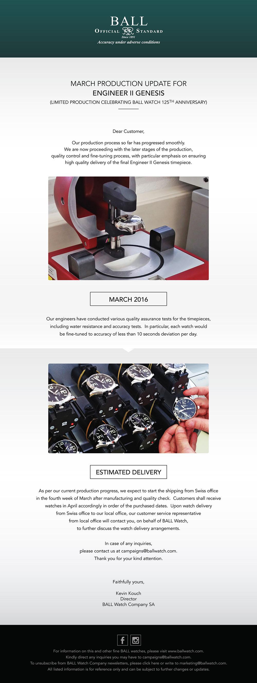Ball Watch Newsletter Genesis Production Update